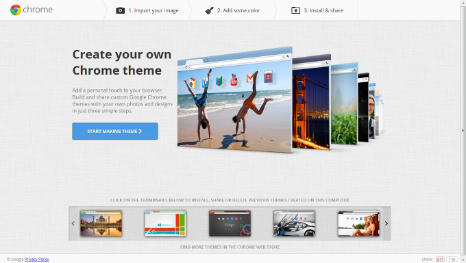 create custom google chrome theme